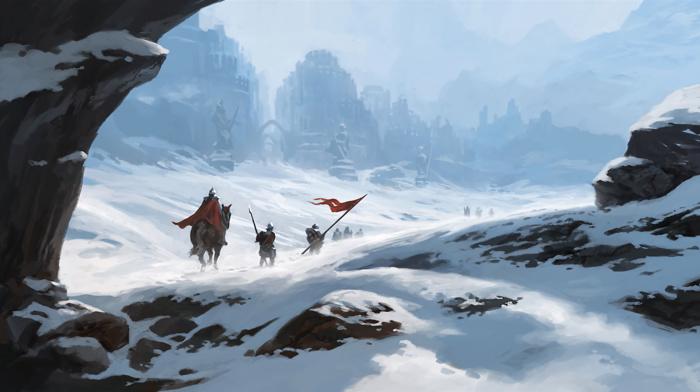 white, blue, flag, spear, ice, horse, red, warrior, city, snow