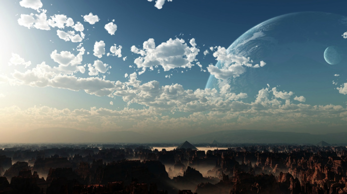sky, pyramid, canyon, planet, moon