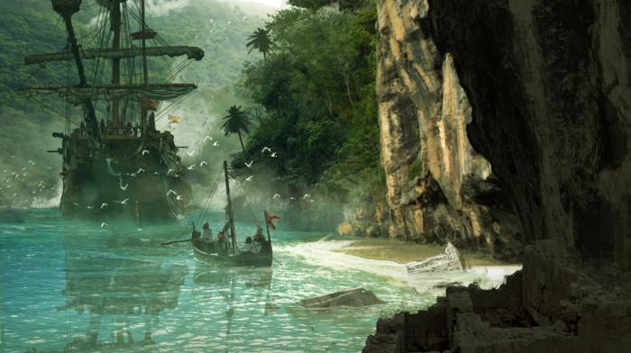 Assassins Creed, landscape, boat, island, cave, Blake Rottinger