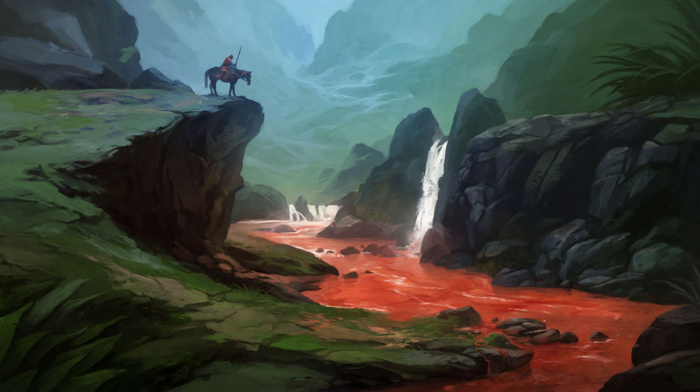 horse, fantasy art, blood, nature, warrior, river