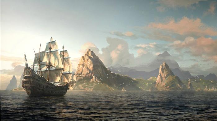 sea, island, boat