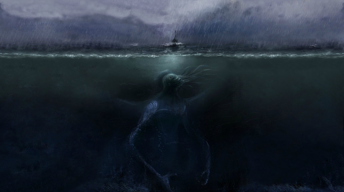giant, boat, artwork, sea, sea monsters, underwater, creature