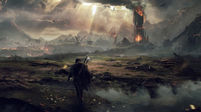 The Lord of the Rings, middle, Earth, fantasy art, video games, looking into the distance, earth shadow of mordor, Mordor