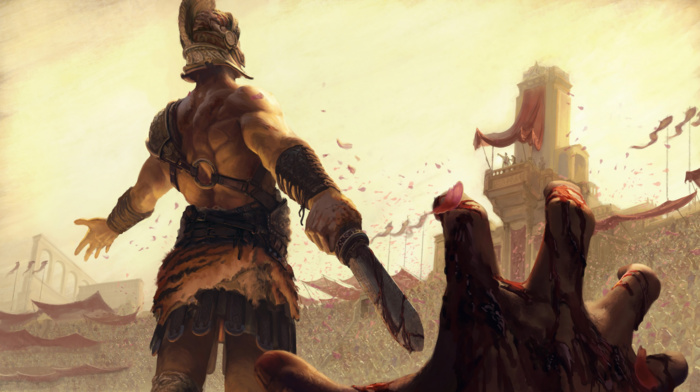 digital art, hero, helmet, fantasy art, blood, warrior, artwork, gladiators, sword