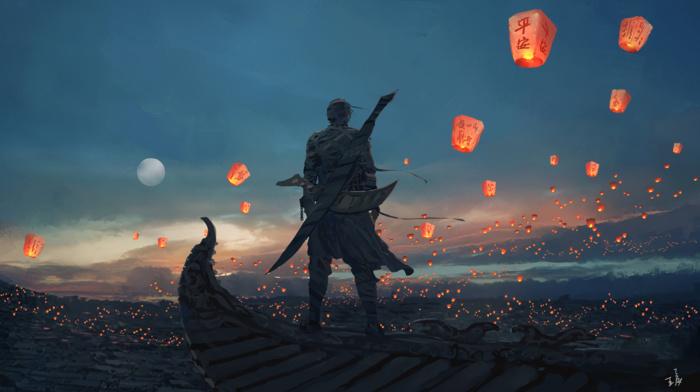 anime, sky, lantern