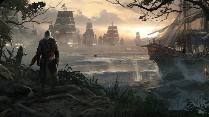 Assassins Creed Black Flag, pirates, sailing ship, boat, looking into the distance, Assassins Creed, naval battles