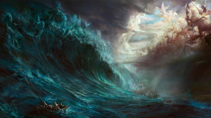 artwork, fantasy art, war, sea, water, magic, gods, storm, ship, waves, boat