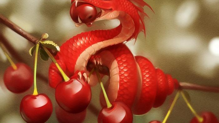 nature, digital art, fantasy art, leaves, red, trees, miniatures, fruit, dragon, eating, cherries food, branch