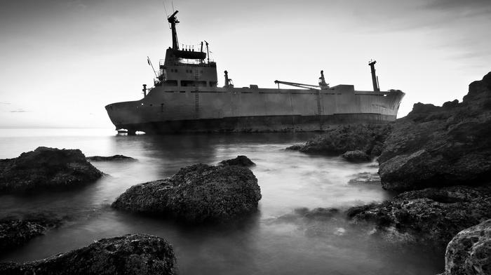 wreck, rock, cranes machine, ship, shipwreck, monochrome, sea, landscape, stones, nature