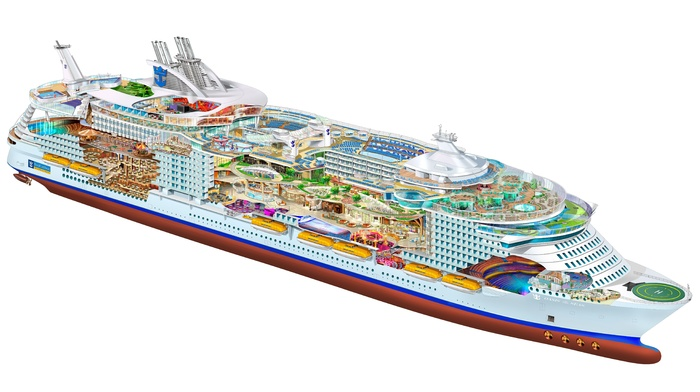 illustration, schematic, transparency, drawing, ship, Oasis of the Seas, cruise ship, white background