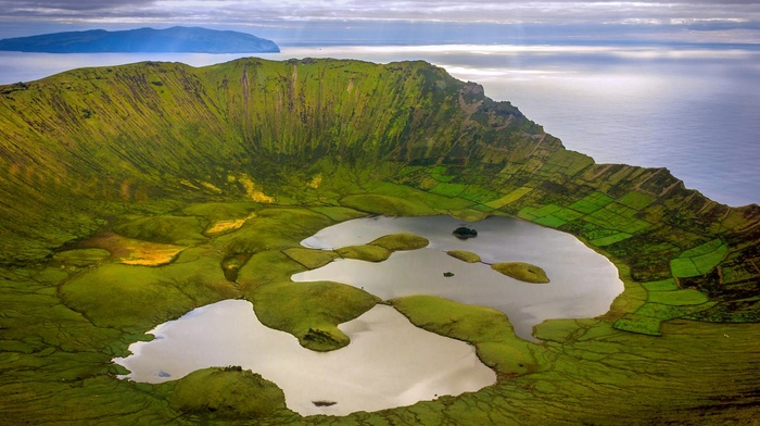 grass, sea, sun rays, field, island, mountains, azores, nature, birds eye view, clouds, water, hills, Portugal, landscape, lake