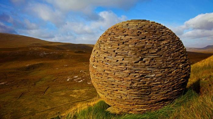 bricks, stones, Scotland, sphere, UK, clouds, hills, valley, grass, nature, landscape