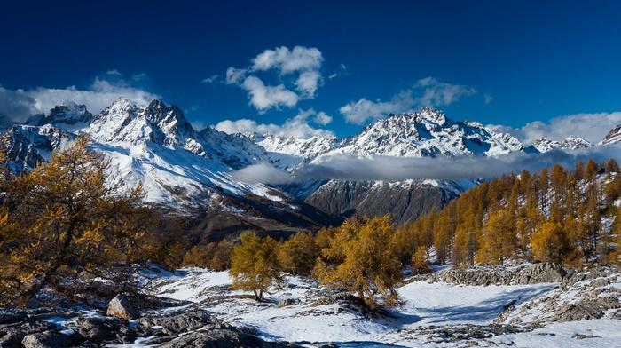 sunlight, trees, mountains, sky, France, nature, landscape, blue, winter, snowy peak, snow