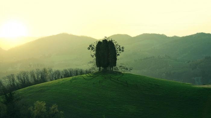 nature, mountains, green, trees, photoshop, sky, Sun