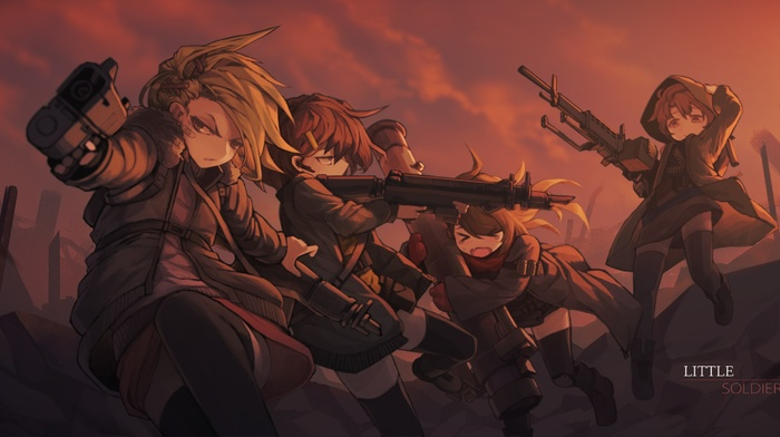 anime girls, original characters, soldier, gun, weapon
