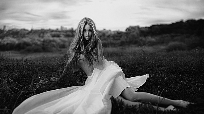 white dress, Dasha Romanchenko, model, Georgy Chernyadyev, monochrome, blonde, portrait, strategic covering, girl outdoors, holding boobs, girl, dress
