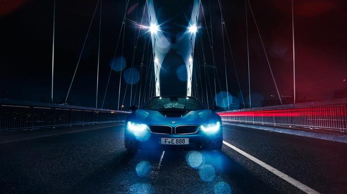 bridge, car, vehicle, rain, BMW, BMW i8