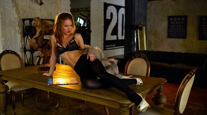 table, model, girl