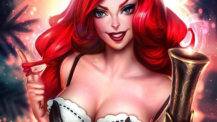 boobs, artwork, girl, Miss Fortune League of Legends, League of Legends