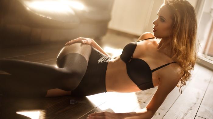 girl, on the floor, hazy, cleavage, black bras, lingerie, blonde, Wojtek Pruchnicki, pantyhose, black lingerie