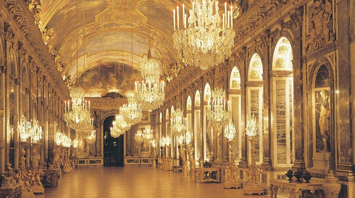 France, Palace of Versailles, chateau, architecture, Hall of Mirrors