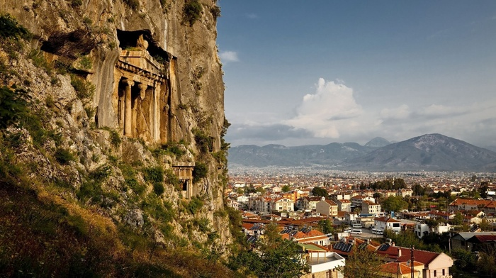 mountains, rock, cityscape, trees, architecture, building, house, Turkey, street, clouds, ancient, rooftops, town