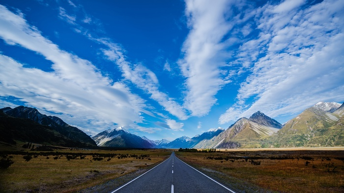 New Zealand, grass, snowy peak, clouds, nature, trees, mountains, landscape, hills, field, road