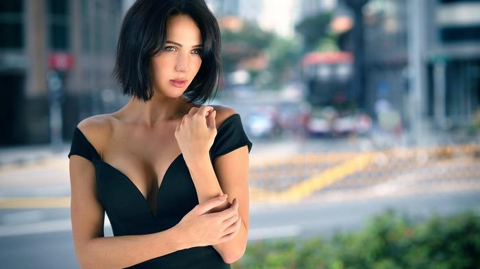 boobs, brunette, blue eyes, girl, bare shoulders, mouths, black dress, cleavage, model