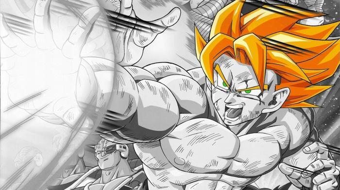 Dragon Ball Z, selective coloring, anime, Son Goku, anime boys