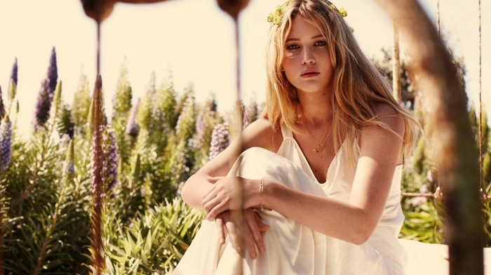 blonde, white dress, girl, actress, flower in hair, Jennifer Lawrence