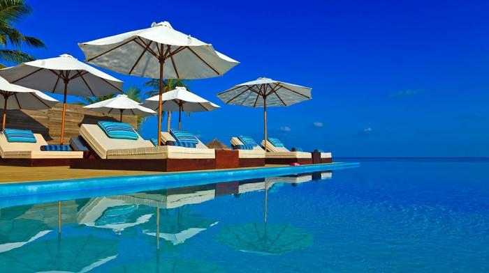 umbrella, tropical, sea