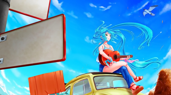 Hatsune Miku, anime girls, guitar, anime, eyes, Vocaloid