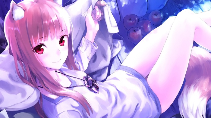 eyes, animal ears, manga, Spice and Wolf, Okamimimi, anime, Holo, smiling, pink hair, anime girls, apples