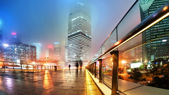 city, mist, long exposure, China, urban, city lights, skyscraper