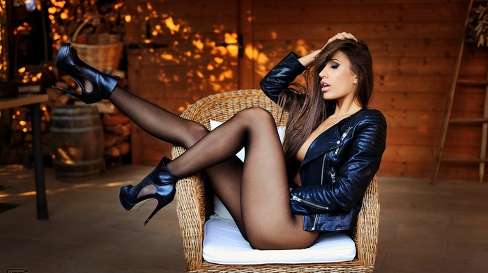 legs up, Giovanni Zacche, Maira Reginato, hands on head, sitting, closed eyes, open mouth, ass, pantyhose, high heels, model, girl