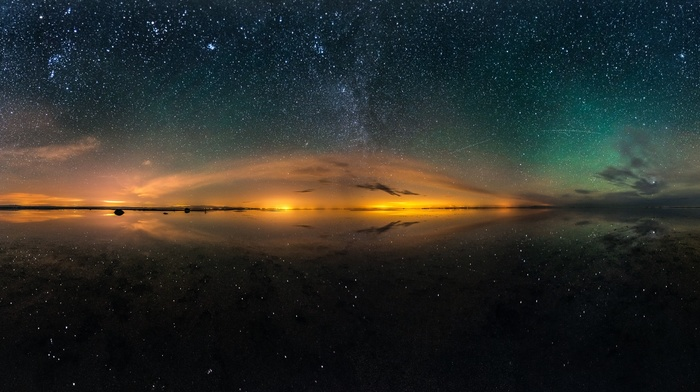 multiple display, stars, long exposure, landscape, night, lake, reflection