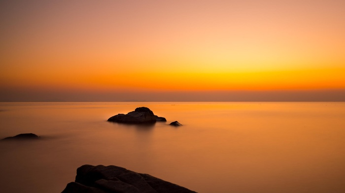 China, sea, long exposure, rocks, landscape