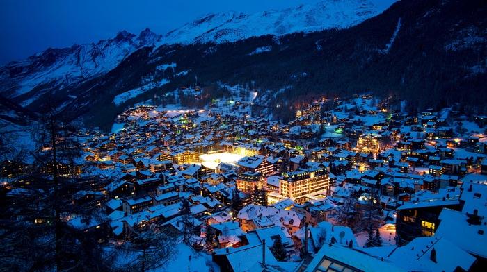 landscape, Switzerland, Alps, mountains, lights, snow, Zermatt