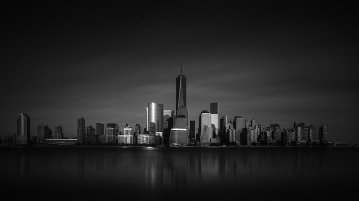 city, New York City, monochrome
