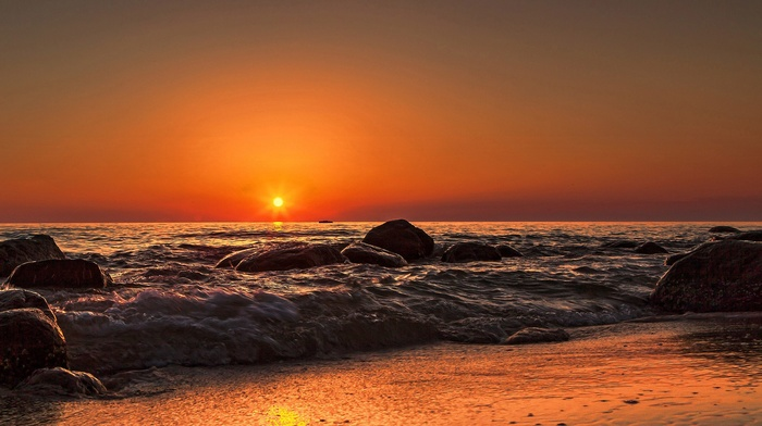 beach, waves, sea, nature, Sun, rocks