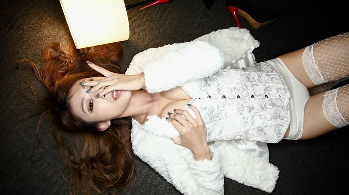 lingerie, Asian, white cotton panties, girl, model