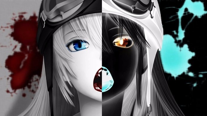 monogatari series, Oshino Shinobu, inverted, anime, blood, anime girls, multiple display