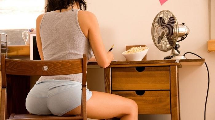 chair, girl, Michaela Isizzu, ass, desk, short shorts, tank top