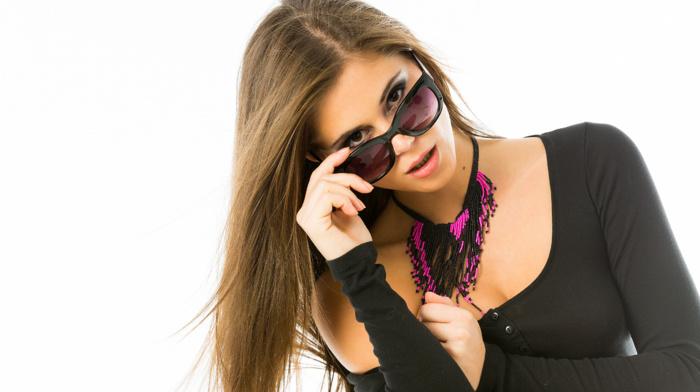 sunglasses, brunette, simple background, girl, pornstar, dyed hair, looking at viewer, Markta Stroblov