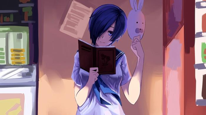 anime, Tokyo Ghoul, smiling, eyes, Kirishima Touka, anime girls, mask, looking at viewer, short hair, brunette, books