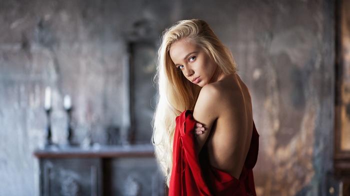 red dress, back, Maxim Maximov, undressing, Maria Popova, no bra, portrait, blonde, blue eyes, girl