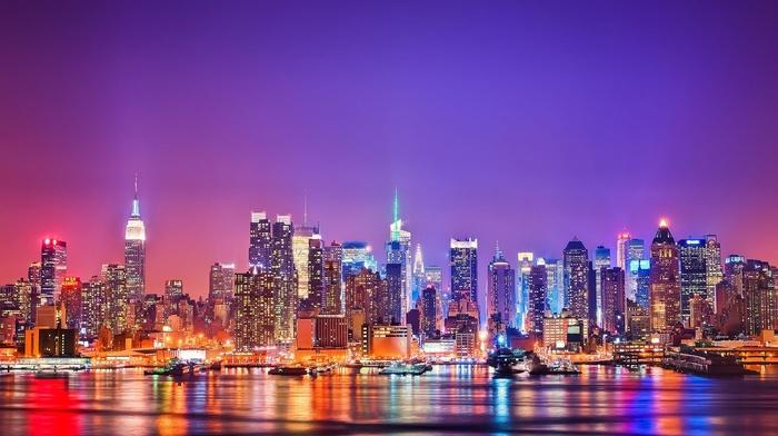 city lights, New York City, night, building