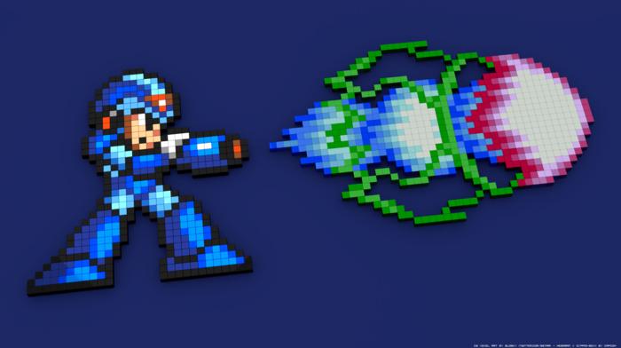 pixel art, pixelated, 8, bit, Mega Man, Megaman X, 3D Blocks, Mega Man X, video games, 3D, 16