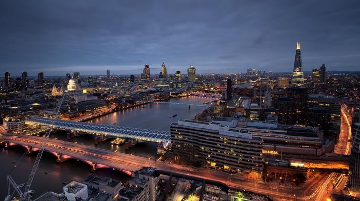 motion blur, lights, bridge, city, London, river, cityscape, England, skyscraper, night, city lights