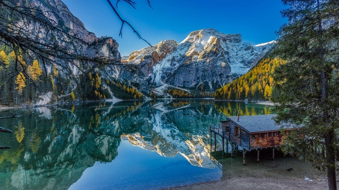 water, mountains, Alps, landscape, nature, Italy, fall, blue, lake, sky, house, forest, reflection